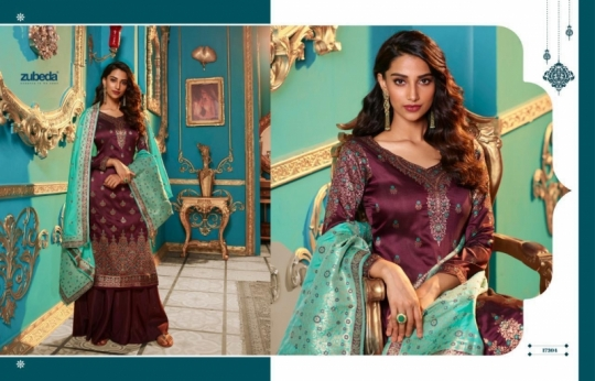 ZUBEDA PRESENTS SEHER SILK JACQURAD FABRIC WITH EMBROIDERY WORK SALWAR SUIT WHOLESALE DEALER BEST RATE BY GOSIYA EXPORTS SURAT (9)